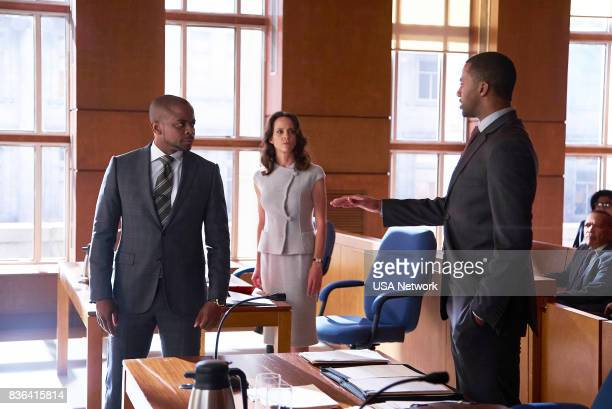 SUITS 'Home to Roost' Episode 706 Pictured Dulé Hill as Alex Williams Sarah MurphyDyson as Ms Sterling Jordan JohnsonHinds as Oliver Grady