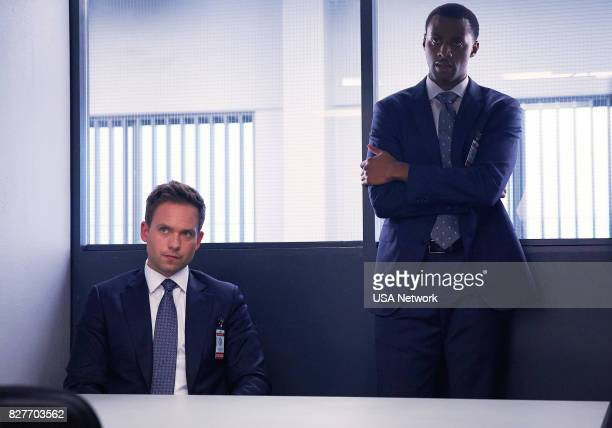 SUITS 'Home to Roost' Episode 706 Pictured Patrick J Adams as Michael Ross Jordan JohnsonHinds as Oliver Grady