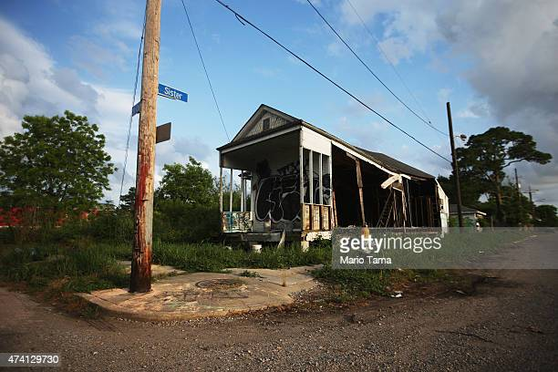 A home which was flooded during Hurricane Katrina remains abandoned in the Lower Ninth Ward on May 16 2015 in New Orleans Louisiana While many areas...