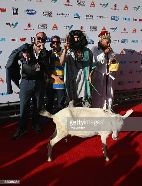Homebrew pose with Diva the goat as they arrive for the 2012 Vodafone New Zealand Music Awards at Vector Arena on November 1 2012 in Auckland New...