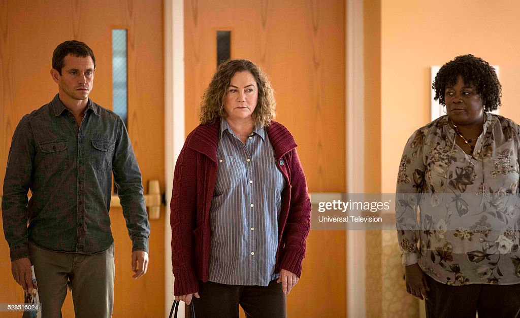 THE PATH -- 'A Homecoming' Episode 103 -- Pictured: (l-r) Hugh Dancy as Cal Roberts, Kathleen Turner as Brenda Roberts, Catrina Ganey as Administrator --