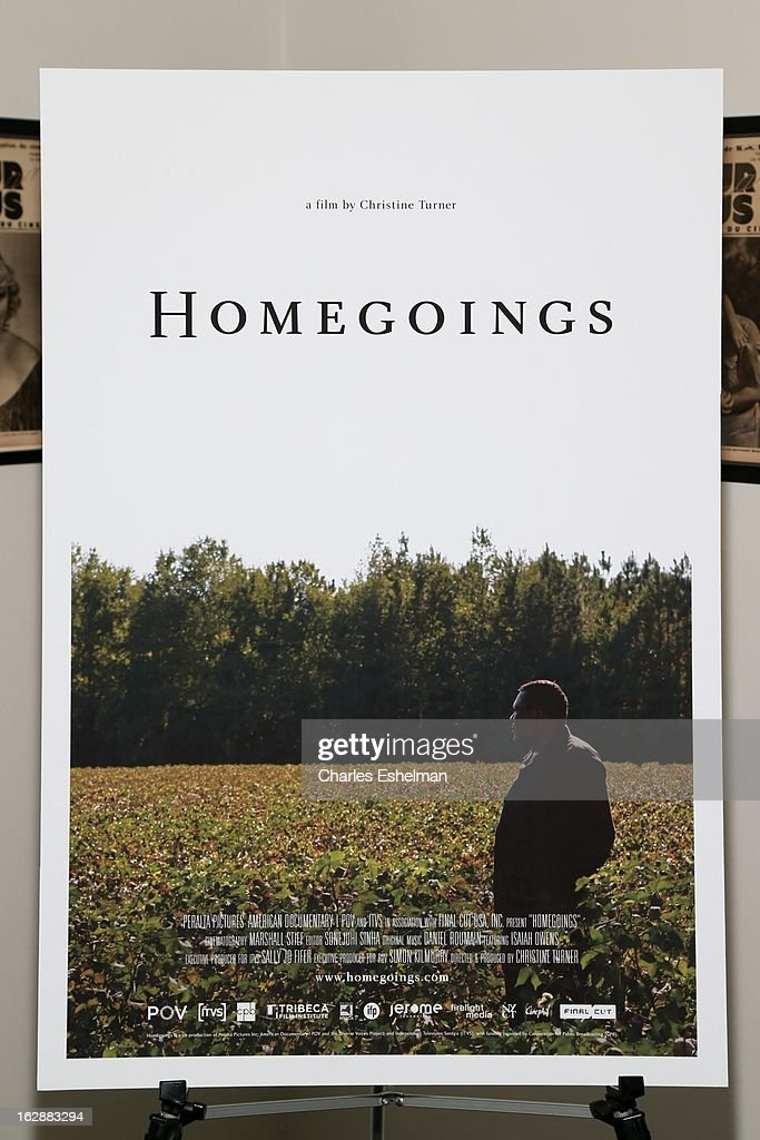 Homegoings movie poster at the 'Homegoings' premiere at The Museum of Modern Art on February 28, 2013 in New York City.