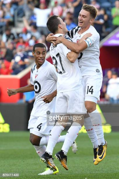 Homegrown and Chicago Fire midfielder Djordje Mihailovic celebrates his goal with MLS Homegrown and Real Salt Lake midfielder Brooks Lennon next to...