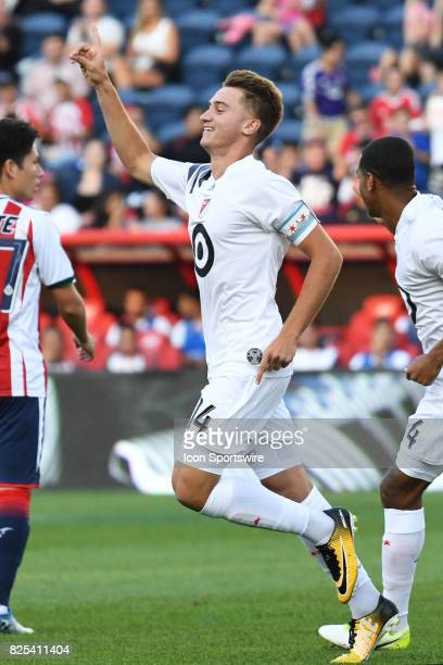 Homegrown and Chicago Fire midfielder Djordje Mihailovic celebrates his goal in the first half during a soccer match between the MLS Homegrown Team...