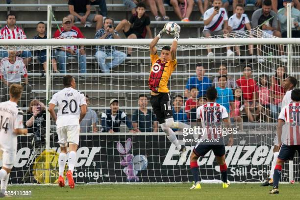 Homegrown and FC Dallas goalkeeper Jesse Gonzalez goes up for a save in the first half during a soccer match between the MLS Homegrown Team and the...