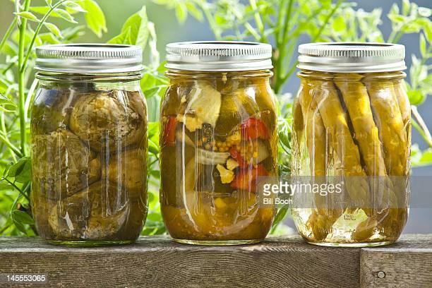 Homegrown Pickled vegetables in a jars