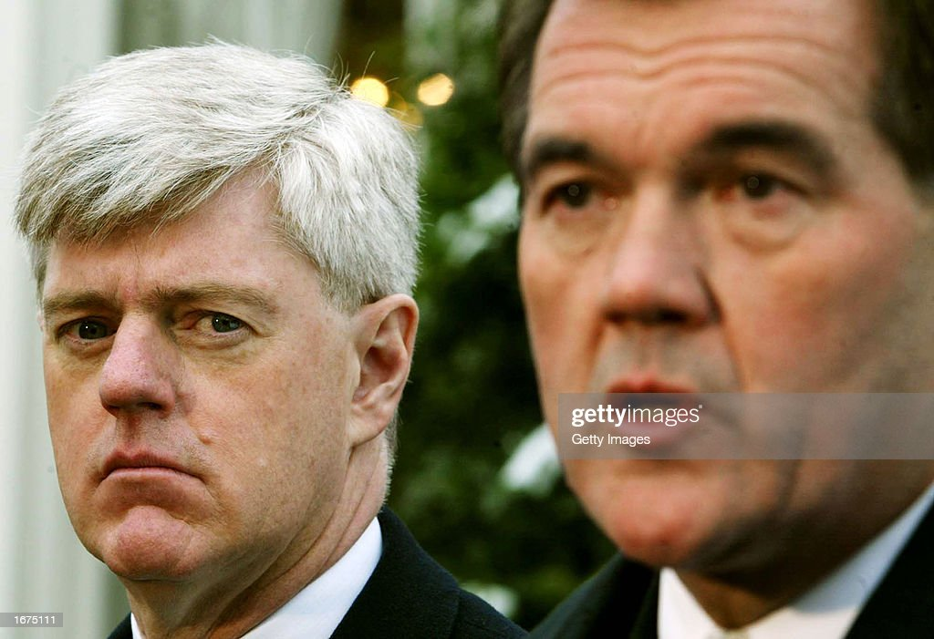 U.S. Homeland Security Advisor and Secretary-Designate Tom Ridge (R) and Deputy Prime Minister of Canada John Manley speak to the media at the White House December 6, 2002 in Washington, D.C. Ridge and Manley met to discuss the U.S.-Canada Smart Border Action Plan.