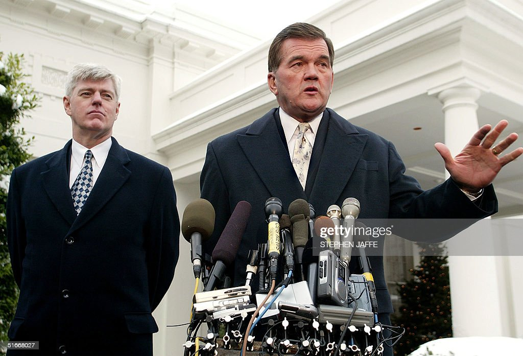 Homeland Security Advisor and SecretaryDesignate Tom Ridge and Deputy Prime Minister of Canada John Manley make remarks to the media outside the West...