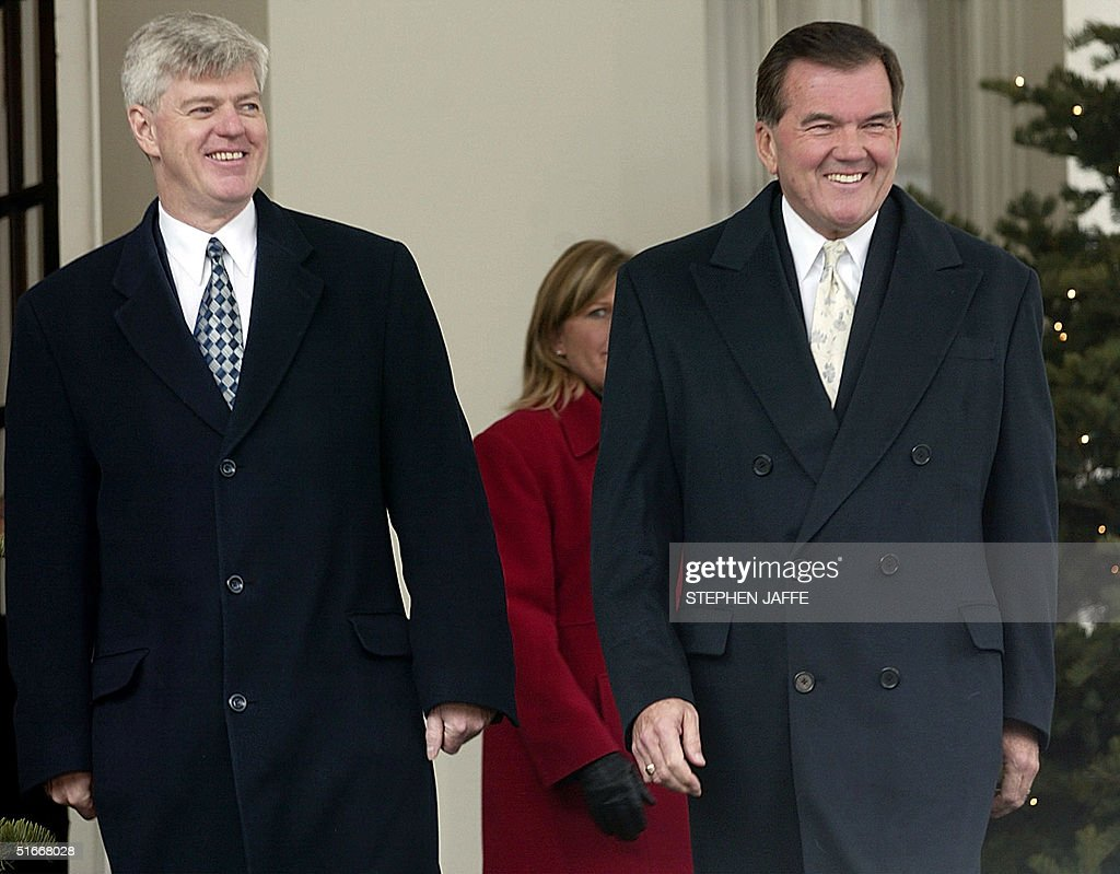 Homeland Security Advisor and SecretaryDesignate Tom Ridge and Deputy Prime Minister of Canada John Manley are all smiles as they prepare to make...