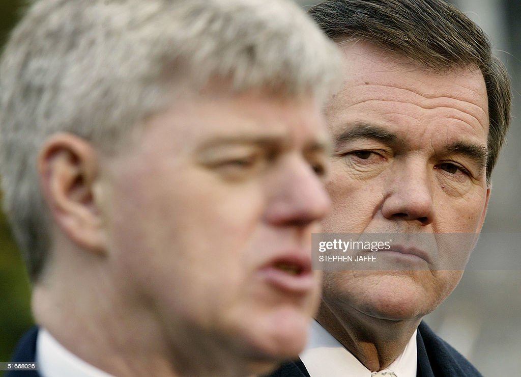 Homeland Security Advisor and SecretaryDesignate Tom Ridge looks at Deputy Prime Minister of Canada John Manley during remarks to the media outside...