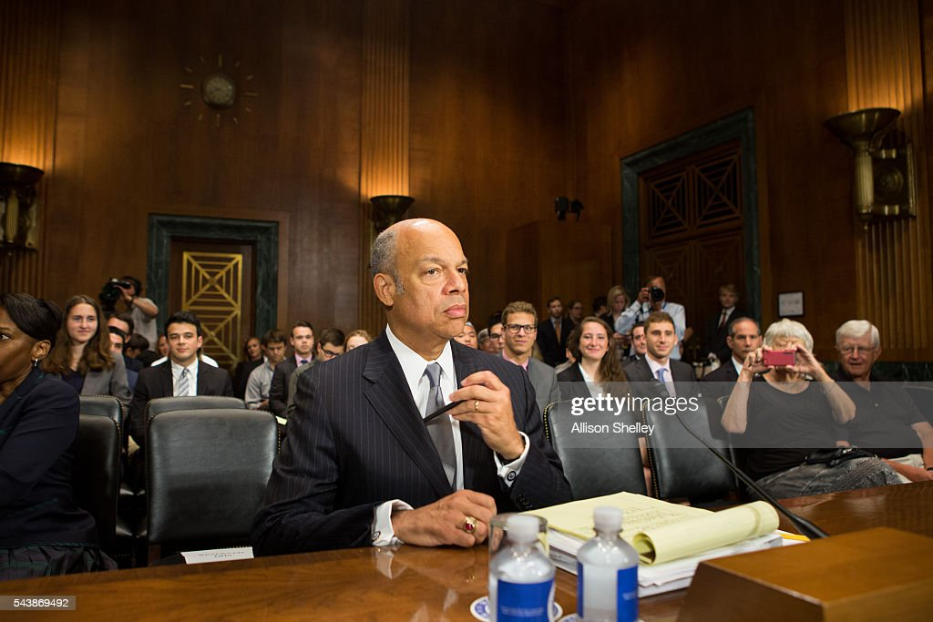 Homeland Security Chief <a gi-track='captionPersonalityLinkClicked' href=/galleries/search?phrase=Jeh+Johnson&family=editorial&specificpeople=5862084 ng-click='$event.stopPropagation()'>Jeh Johnson</a> prepares to testify before the Senate Judiciary Committee on oversight of the Department of Homeland Security, on June 30, 2016 in Washington, DC.