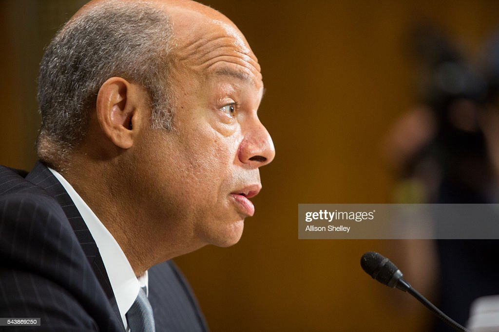 Homeland Security Chief <a gi-track='captionPersonalityLinkClicked' href=/galleries/search?phrase=Jeh+Johnson&family=editorial&specificpeople=5862084 ng-click='$event.stopPropagation()'>Jeh Johnson</a> testifies before the Senate Judiciary Committee on oversight of the Department of Homeland Security, on June 30, 2016 in Washington, DC.