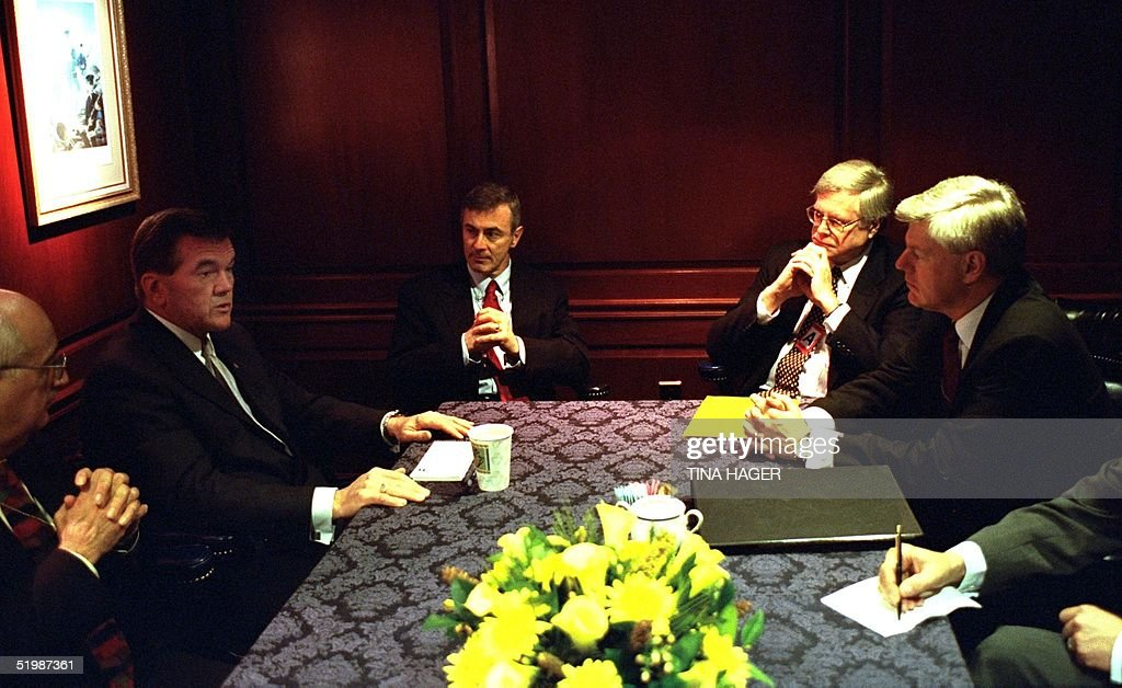 Homeland Security Director Tom Ridge and Canadian Deputy Prime Minister John Manley meet at the White House in Washington DC 08 March 2002 to discuss...