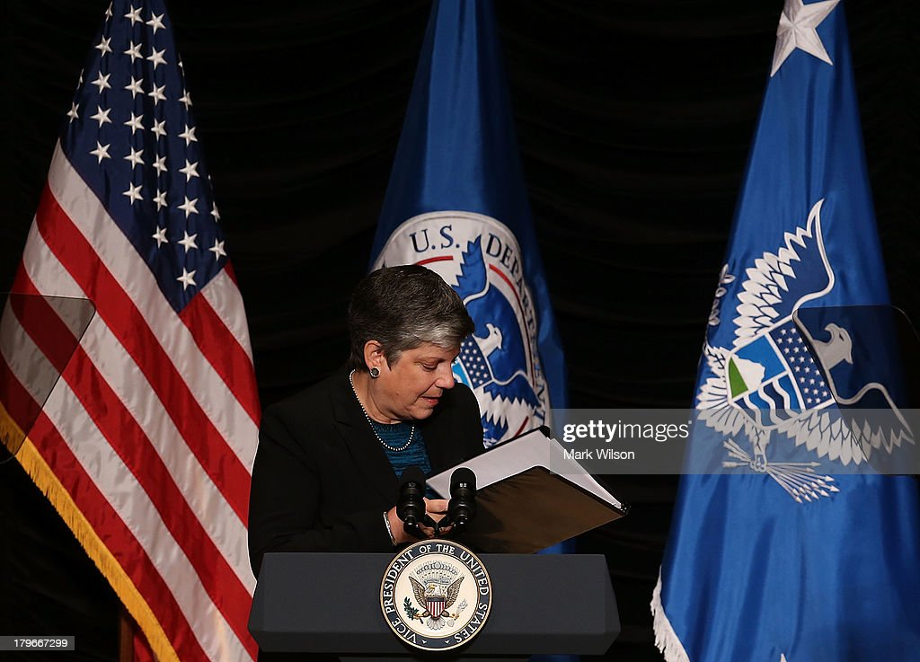 Homeland Security <a gi-track='captionPersonalityLinkClicked' href=/galleries/search?phrase=Janet+Napolitano&family=editorial&specificpeople=589781 ng-click='$event.stopPropagation()'>Janet Napolitano</a> walks away after delivering her farewell speech at the Ronald Reagan Building, September 6, 2013 in Washington, DC. Today is Secretary Napolitano's last day on the job, before becoming head of the University of California,