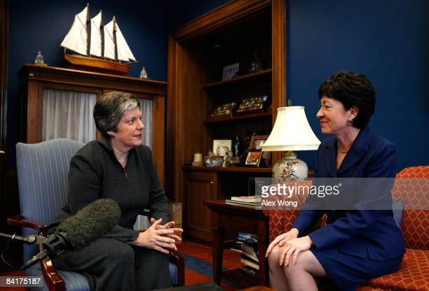 Homeland Security Secretary Designate and Arizona Gov Janet Napolitano meets with US Senate Homeland Security Committee ranking member Sen Susan...