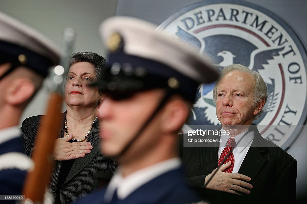 Homeland Security Secretary <a gi-track='captionPersonalityLinkClicked' href=/galleries/search?phrase=Janet+Napolitano&family=editorial&specificpeople=589781 ng-click='$event.stopPropagation()'>Janet Napolitano</a> (L) and Senate Homeland Security and Governmental Affairs Committee Chairman Sen. Joseph Leiberman (I-CT) participate in a ceremony honoring Leiberman at the U.S. Citizenship and Immigration Services December 19, 2012 in Washington, DC. Lieberman, who is retiring after 24 years in the U.S. Senate, was recognized by Napolitano for his 'advocacy and leadership on behalf of the Department of Homeland Security and the country and for helping to ensure the safety and security of the American people.'