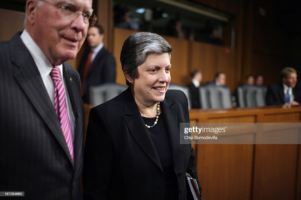 Homeland Security Secretary <a gi-track='captionPersonalityLinkClicked' href=/galleries/search?phrase=Janet+Napolitano&family=editorial&specificpeople=589781 ng-click='$event.stopPropagation()'>Janet Napolitano</a> (R) and Senate Judiciary Committee Chairman Patrick Leahy (D-VT) arrive before a hearing of the committee on Capitol Hill April 23, 2013 in Washington, DC. Napolitano answered questions from senators about the proposed immigration reform legislation and the Boston Marathon bombing suspects.