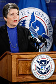 Homeland Security Secretary Janet Napolitano answers questions about the current flu virus pandemic during a news conference at the Department of...