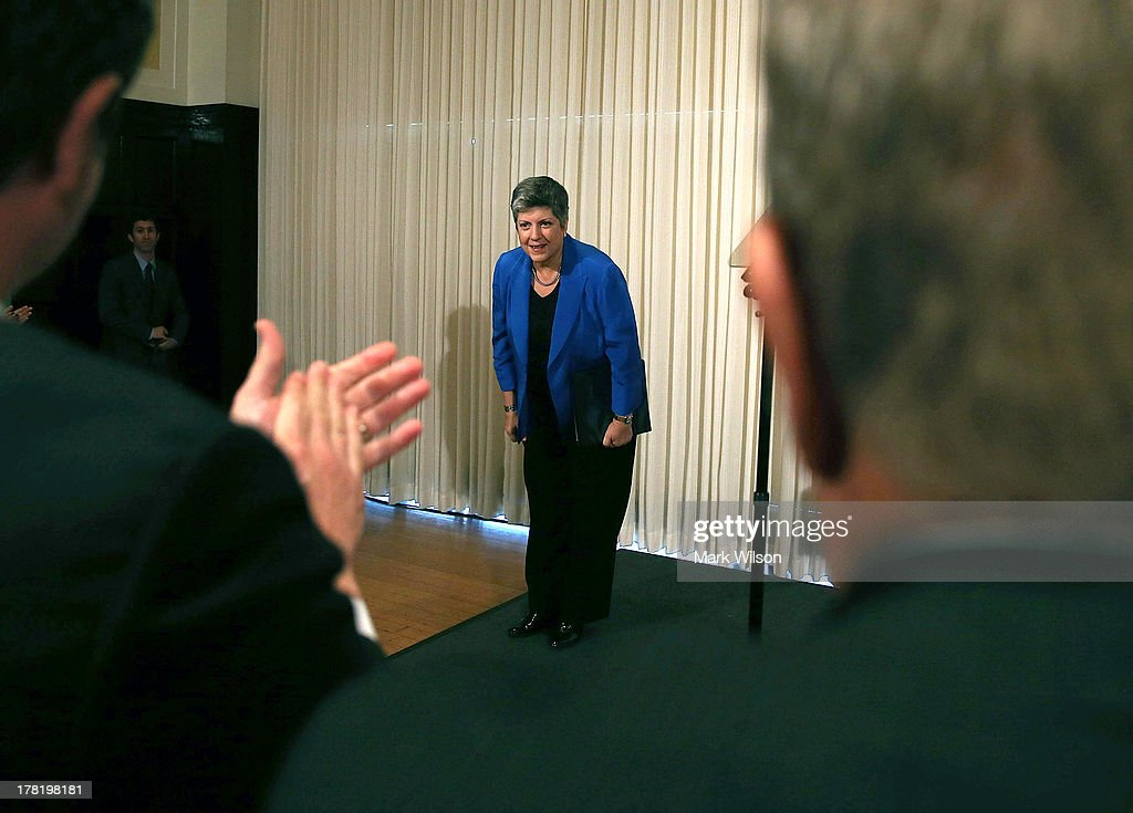 Homeland Security Secretary <a gi-track='captionPersonalityLinkClicked' href=/galleries/search?phrase=Janet+Napolitano&family=editorial&specificpeople=589781 ng-click='$event.stopPropagation()'>Janet Napolitano</a> bows after delivering her farewell speech at the National Press Club August 27, 2013 in Washington, DC. Her replacement has not been named yet, with today being her last day on the job before becoming head of the University of California.