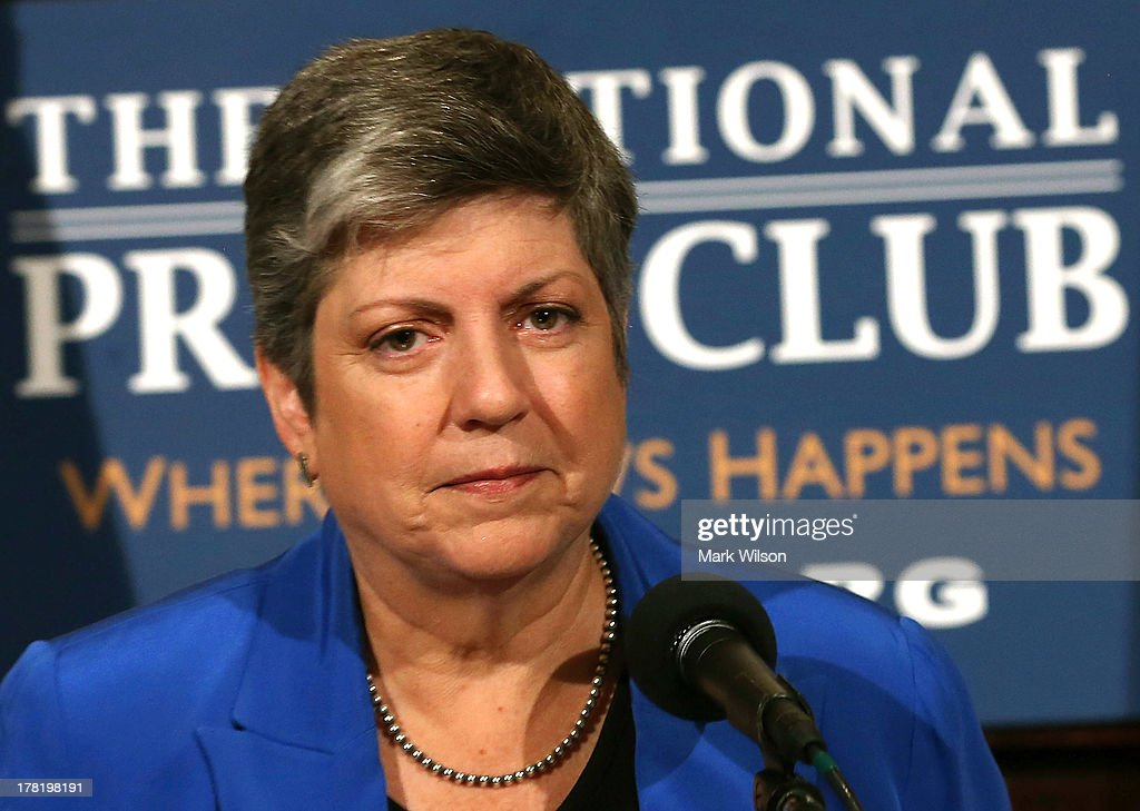Homeland Security Secretary <a gi-track='captionPersonalityLinkClicked' href=/galleries/search?phrase=Janet+Napolitano&family=editorial&specificpeople=589781 ng-click='$event.stopPropagation()'>Janet Napolitano</a> delivers her farewell speech at the National Press Club August 27, 2013 in Washington, DC. Her replacement has not been named yet, with today being her last day on the job before becoming head of the University of California.