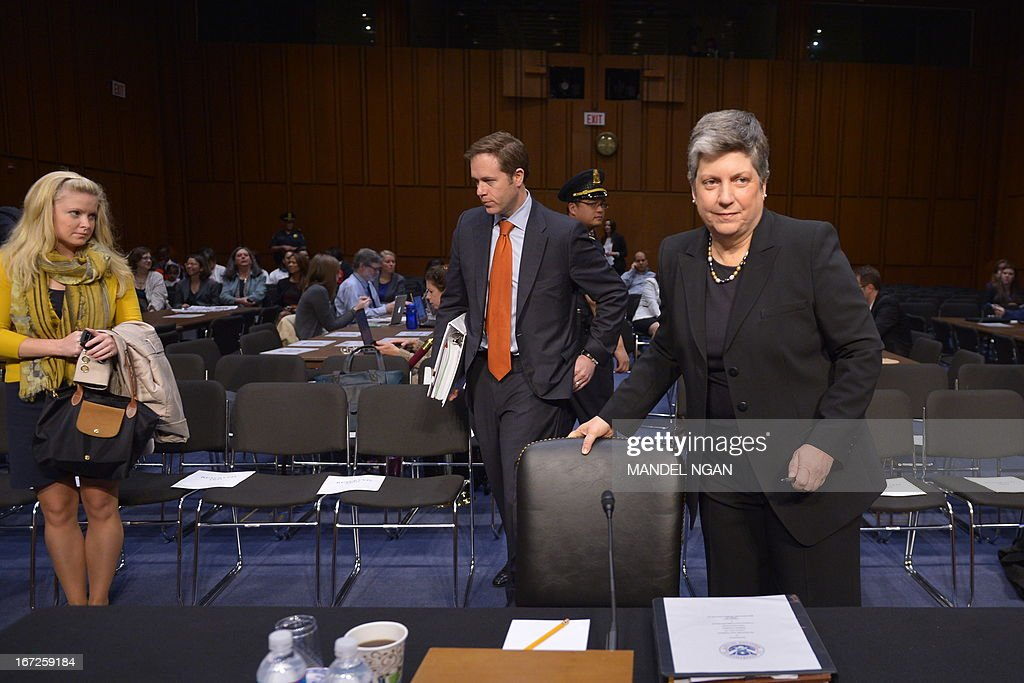 Homeland Security Secretary Janet Napolitano prepares to testify before the Senate Judiciary Committee on S.744, the 'Border Security, Economic Opportunity, and Immigration Modernization Act.' on April 23 2013 in the Hart Senate Office Building on Capitol Hill in Washington, DC. AFP PHOTO/Mandel NGAN