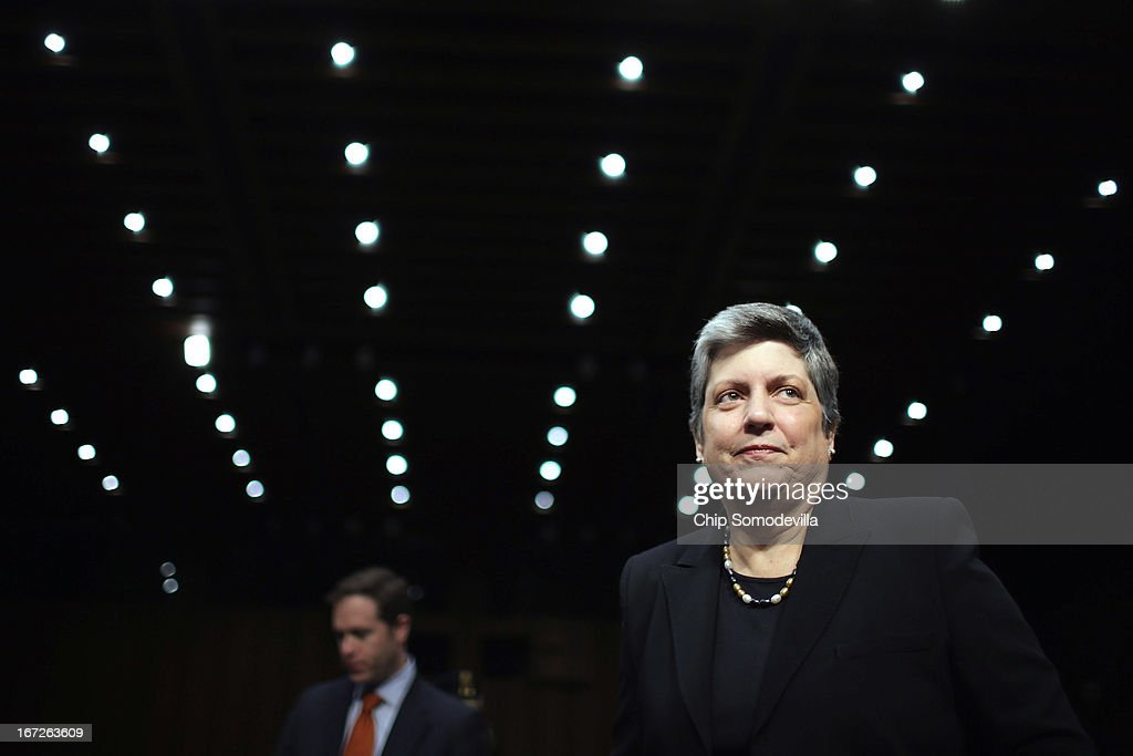 Homeland Security Secretary <a gi-track='captionPersonalityLinkClicked' href=/galleries/search?phrase=Janet+Napolitano&family=editorial&specificpeople=589781 ng-click='$event.stopPropagation()'>Janet Napolitano</a> prepares to testify before the Senate Judiciary Committee on Capitol Hill April 23, 2013 in Washington, DC. Napolitano answered questions from senators about the proposed immigration reform legislation and the Boston Marathon bombing suspects.