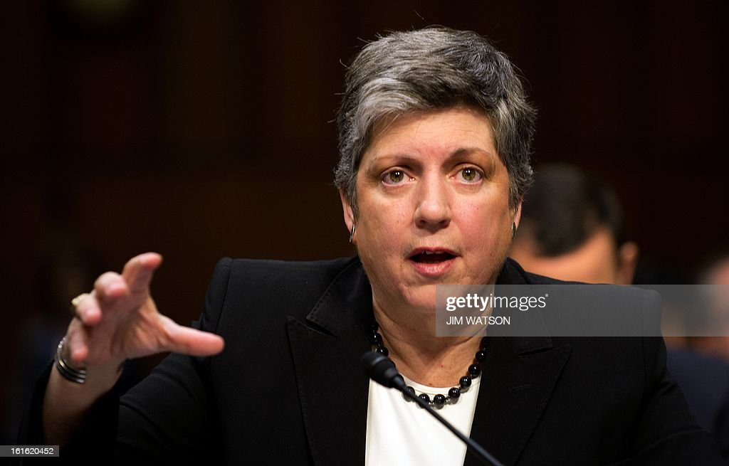 US Homeland Security Secretary Janet Napolitano testifies before the Senate Judiciary Committee on Capitol Hill in Washington, DC, February 13, 2013, on comprehensive immigration reform. Napolitano told the Senate that a new legalization law for illegal immigrants won't lead to the same flood that followed the last amnesty in 1986, saying that the border has been secured too well for that to happen. AFP PHOTO/Jim WATSON