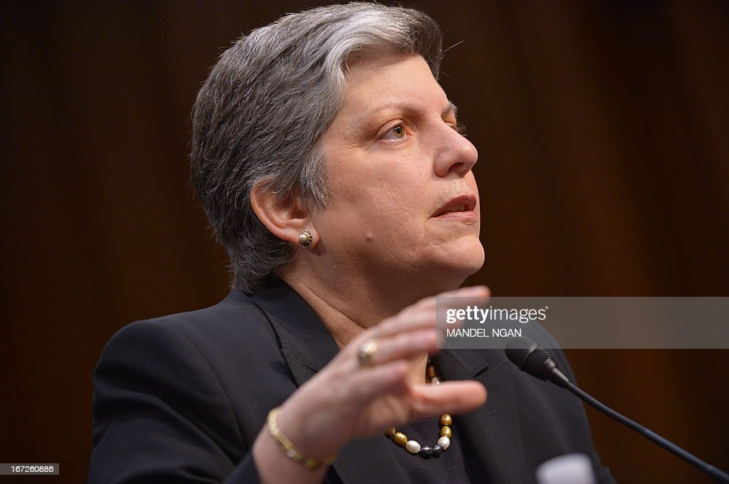 Homeland Security Secretary Janet Napolitano testifies before the Senate Judiciary Committee on S.744, the 'Border Security, Economic Opportunity, and Immigration Modernization Act.' on April 23 2013 in the Hart Senate Office Building on Capitol Hill in Washington, DC. AFP PHOTO/Mandel NGAN