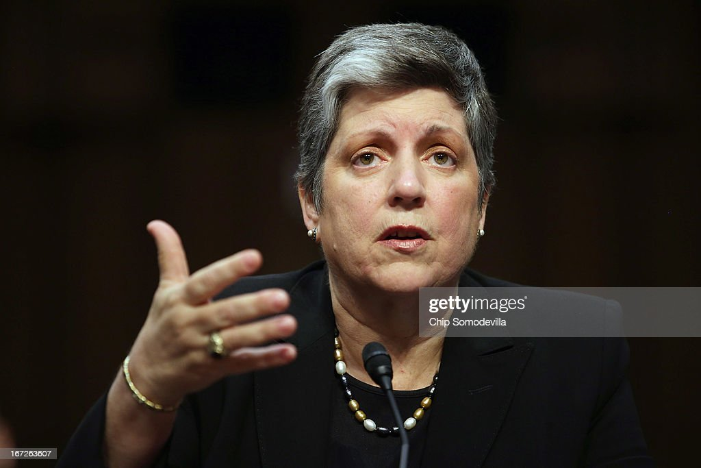 Homeland Security Secretary <a gi-track='captionPersonalityLinkClicked' href=/galleries/search?phrase=Janet+Napolitano&family=editorial&specificpeople=589781 ng-click='$event.stopPropagation()'>Janet Napolitano</a> testifies before the Senate Judiciary Committee on Capitol Hill April 23, 2013 in Washington, DC. Napolitano answered questions from senators about the proposed immigration reform legislation and the Boston Marathon bombing suspects.