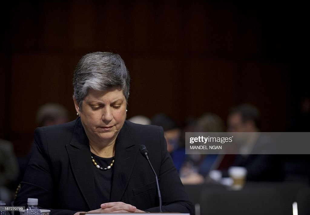 US Homeland Security Secretary Janet Napolitano testifies before the Senate Judiciary Committee on S.744, the 'Border Security, Economic Opportunity, and Immigration Modernization Act,' on April 23 2013 in the Hart Senate Office Building on Capitol Hill in Washington. AFP PHOTO/Mandel NGAN