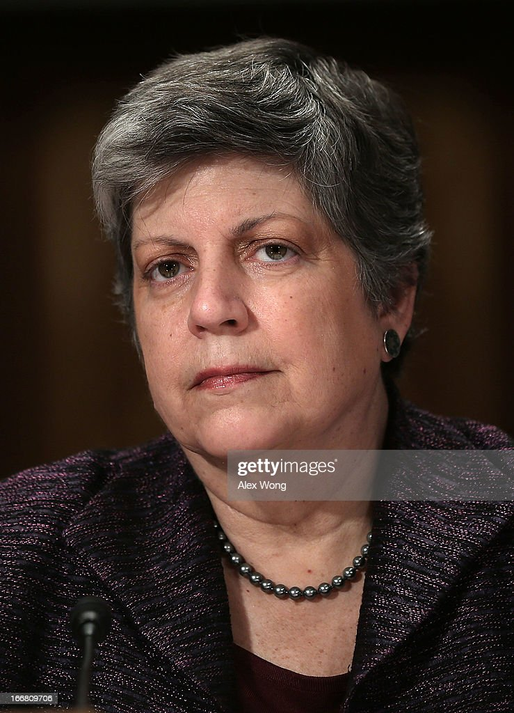 Homeland Security Secretary <a gi-track='captionPersonalityLinkClicked' href=/galleries/search?phrase=Janet+Napolitano&family=editorial&specificpeople=589781 ng-click='$event.stopPropagation()'>Janet Napolitano</a> testifies during a hearing before the Senate Homeland Security and Governmental Affairs Committee April 17, 2013 on Capitol Hill in Washington, DC. Napolitano testified on the Homeland Security Department's budget submission for FY2014.