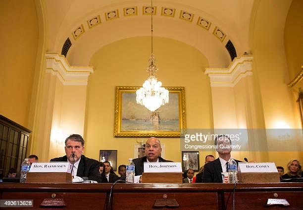 STATES OCTOBER 21 Homeland Security Secretary Jeh Johnson accompanied by National Counterterrorism Center Director Nicholas Rasmussen left and FBI...
