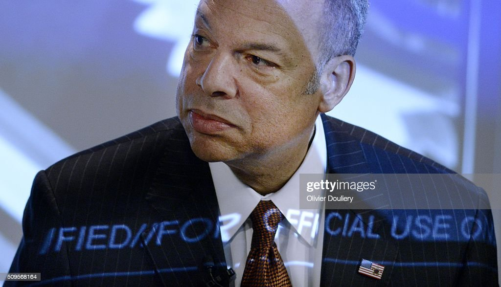 Homeland Security Secretary <a gi-track='captionPersonalityLinkClicked' href=/galleries/search?phrase=Jeh+Johnson&family=editorial&specificpeople=5862084 ng-click='$event.stopPropagation()'>Jeh Johnson</a> delivers his State of Homeland Security address at the Woodrow Wilson Center on February 11, 2016 in Washington, DC. Secretary Johnson recently defended the $6 billion National Cybersecurity Protection System, known as 'EINSTEIN', over critcism of its capabilities.