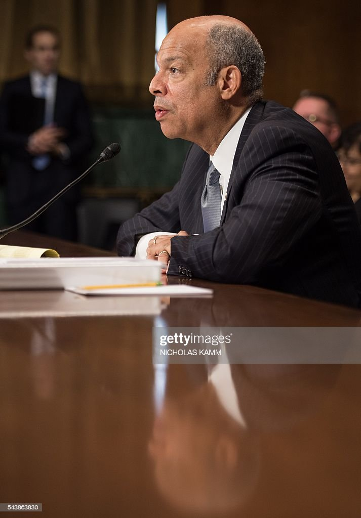 Homeland Security Secretary Jeh Johnson testifies at a Senate Judiciary Committee hearing on 'Oversight of the Department of Homeland Security' on Capitol Hill in Washington, DC, on June 30, 2016. / AFP / NICHOLAS