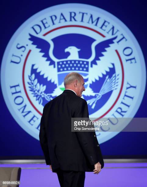 S Homeland Security Secretary John Kelly leaves after delivering his first public remarks since being appointed by President Donald Trump at the Jack...