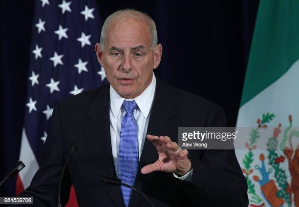 S Homeland Security Secretary John Kelly participates in a media availability May 18 2017 at the State Department in Washington DC The State...