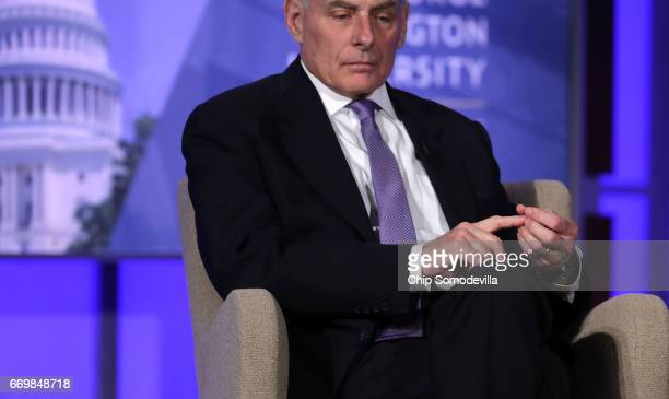 S Homeland Security Secretary John Kelly participates in a questionandanswer session with George Washington University Center for Cyber and Homeland...