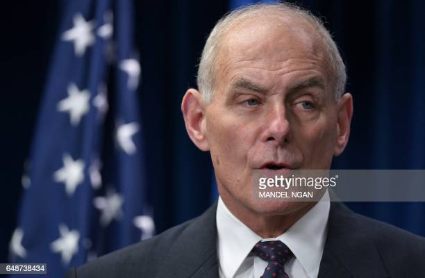 Homeland Security Secretary John Kelly speaks on visa travel at the US Customs and Border Protection Press Room in the Reagan Building on March 6...