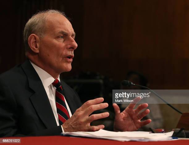 Homeland Security Secretary John Kelly testifies during a Senate Appropriations Committee hearing on Capitol Hill May 25 2017 in Washington DC The...