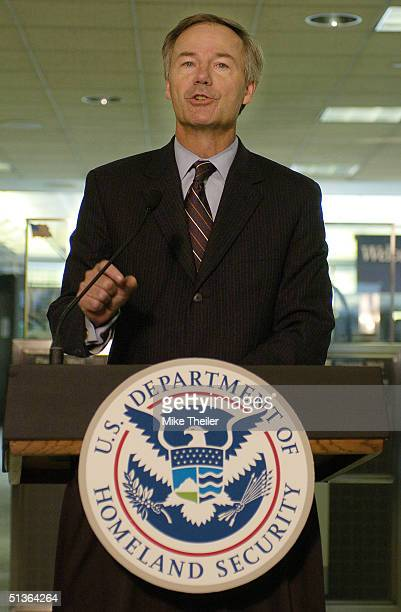 Homeland Security Undersecretary for Border and Transportation Security Asa Hutchinson speaks September 27 2004 at Dulles International Airport in...