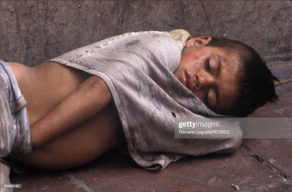 A homeless boy in Bogota, Colombia, circa 1990.