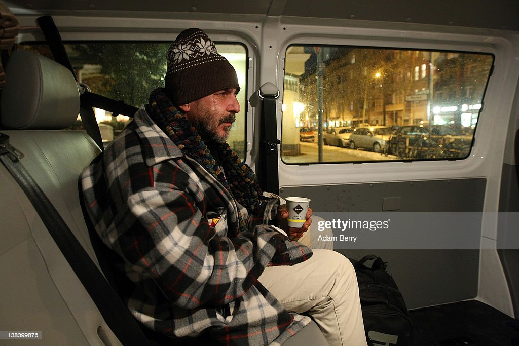 A homeless man by the name of Rainer rides the Waermebus, or Warmth Van, to a homeless shelter on February 6, 2012 in Berlin, Germany. The Waermebus, a program ran by the German Red Cross, assists the homeless in times of extremely low temperatures with blankets, food, clothing and finding lodging. Nearly 300 people across Europe have died during the current cold wave, a majority of whom were without shelter.