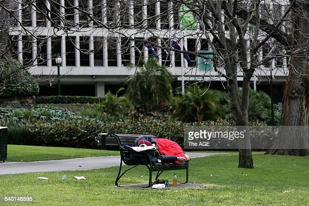 Homeless man camped in the Treasury Gardens in front of Steve Brack's office Melbourne THE AGE OPINION ANALYSIS 13 July 2006