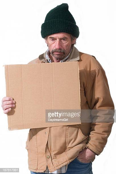 Homeless Man Holding Sign Isolated on White Background