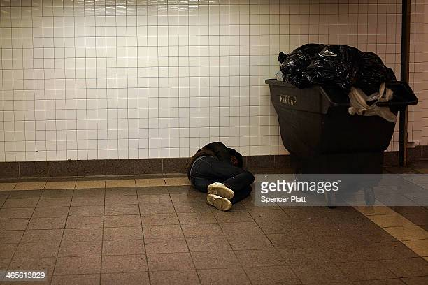 A homeless man is viewed in Penn Station on January 28 2014 in New York City Over 3000 volunteers canvased parks subways bus stations and other...