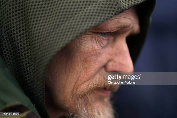 Homeless man Jason waits outside the new Labre House rough sleepers shelter on December 12 2017 in Liverpool England Labre House named after after...