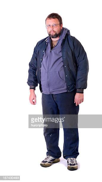 A homeless man on a white background