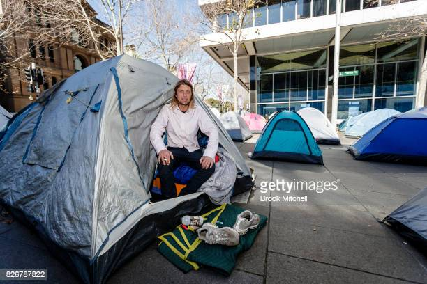 Homeless man Peter Watmough is seen in a tent in Martin Place on August 6 2017 in Sydney Australia Watmough has been homeless for over 3 months and...