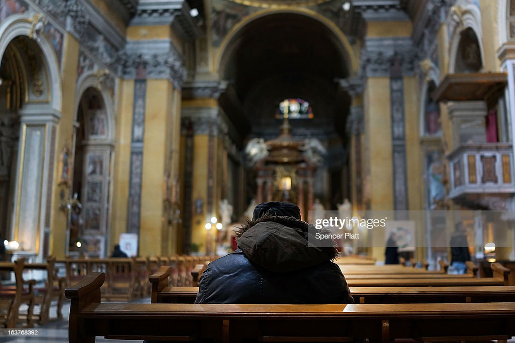 A homeless man sits inside of a Catholic church on March 15, 2013 in Rome, Italy. Newly elected Pope Francis, formerly Cardinal Jorge Mario Bergoglio of Buenos Aires, has been a strong advocate for the poor and disenfranchised throughout the world. A Jesuit, Francis has followed the tradition of his order whose members live spartan, communal lives of poverty. Many analysts believe his papacy will see increased outreach and advocacy for the poor.