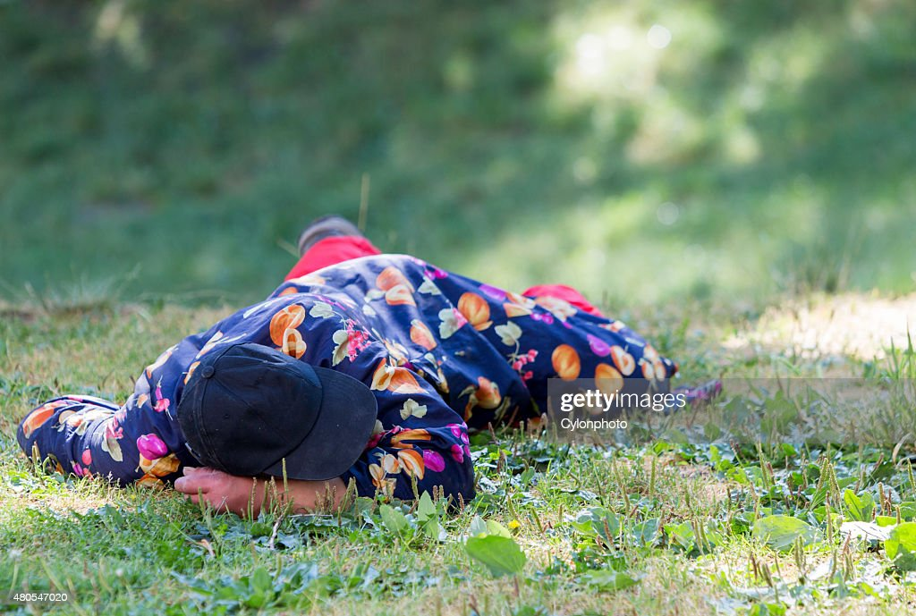 Homeless man sleeping dogs : Stock Photo